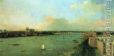 View of the Thames and Westminster Bridge, c.1746-47 by (Giovanni Antonio Canal) Canaletto - Reproduction Oil Painting