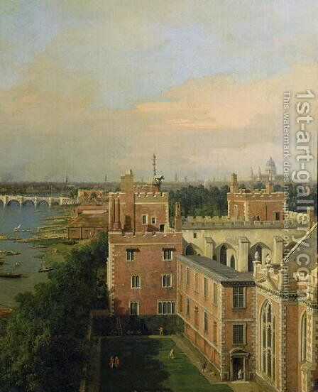 View of the Thames and Westminster Bridge, detail of Lambeth Palace, c.1746-47 by (Giovanni Antonio Canal) Canaletto - Reproduction Oil Painting