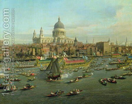 The River Thames with St. Paul's Cathedral on Lord Mayor's Day, detail of St. Paul's Cathedral, c.1747-48 by (Giovanni Antonio Canal) Canaletto - Reproduction Oil Painting
