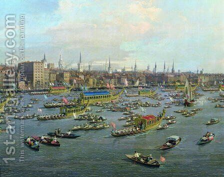 The River Thames with St. Paul's Cathedral on Lord Mayor's Day, detail of the boats, c.1747-48 by (Giovanni Antonio Canal) Canaletto - Reproduction Oil Painting