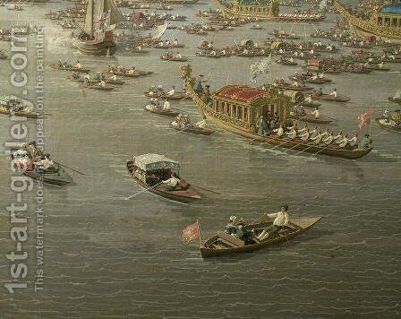 The River Thames with St. Paul's Cathedral on Lord Mayor's Day, detail of rowing boats, c.1747-48 by (Giovanni Antonio Canal) Canaletto - Reproduction Oil Painting