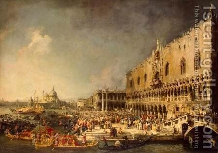 The Reception of the French Ambassador in Venice, c.1740's by (Giovanni Antonio Canal) Canaletto - Reproduction Oil Painting