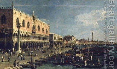 Palazzo Ducale and the Riva degli Schiavoni, Venice by (Giovanni Antonio Canal) Canaletto - Reproduction Oil Painting