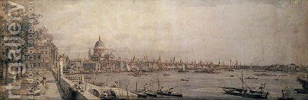 The Thames and the City of London from the Terrace of Somerset House by (Giovanni Antonio Canal) Canaletto - Reproduction Oil Painting