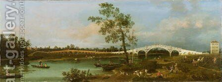Old Walton's Bridge, 1755 by (Giovanni Antonio Canal) Canaletto - Reproduction Oil Painting