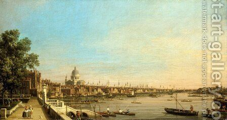 The Thames from the Terrace of Somerset House Looking Towards St. Paul's, c.1750 by (Giovanni Antonio Canal) Canaletto - Reproduction Oil Painting