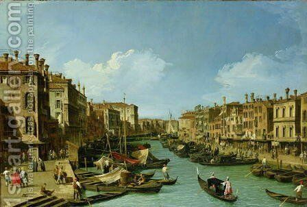 The Grand Canal near the Rialto Bridge, Venice, c.1730 by (Giovanni Antonio Canal) Canaletto - Reproduction Oil Painting