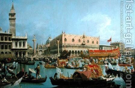 The Bucintoro returning to the Molo by (Giovanni Antonio Canal) Canaletto - Reproduction Oil Painting