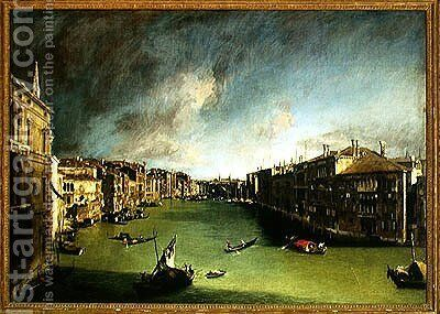 The Grand Canal, View of the Palazzo Balbi towards the Rialto Bridge, 1724 by (Giovanni Antonio Canal) Canaletto - Reproduction Oil Painting
