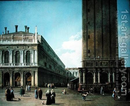 Piazza San Marco: Looking West from the North End of the Piazzetta by (Giovanni Antonio Canal) Canaletto - Reproduction Oil Painting