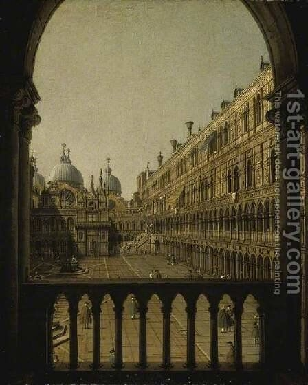Interior Court of the Doge's Palace, Venice, c.1756 by (Giovanni Antonio Canal) Canaletto - Reproduction Oil Painting