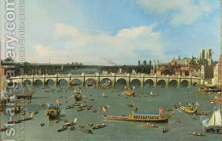 Westminster Bridge, London, With the Lord Mayor's Procession on the Thames (detail) by (Giovanni Antonio Canal) Canaletto - Reproduction Oil Painting