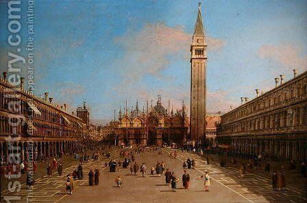 Piazza San Marco looking towards the Basilica di San Marco by (Giovanni Antonio Canal) Canaletto - Reproduction Oil Painting