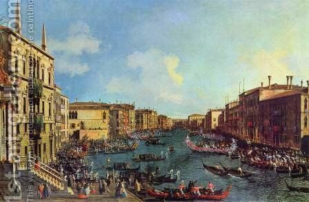 Venice- A Regatta on the Grand Canal, c.1740 by (Giovanni Antonio Canal) Canaletto - Reproduction Oil Painting