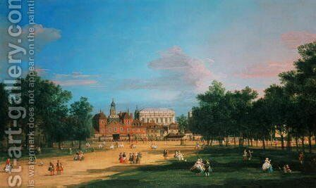 Old Horse Guards and the Banqueting Hall, Whitehall from St James's Park, 1749 by (Giovanni Antonio Canal) Canaletto - Reproduction Oil Painting