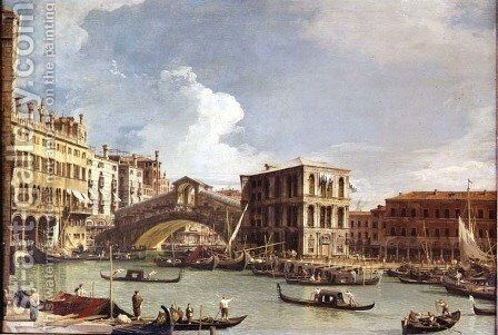 The Rialto Bridge, Venice, from the North by (Giovanni Antonio Canal) Canaletto - Reproduction Oil Painting