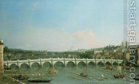 Westminster Bridge from the North with Lambeth Palace in distance by (Giovanni Antonio Canal) Canaletto - Reproduction Oil Painting