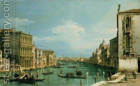 The Grand Canal Venice looking East from the Campo di San Vio by (Giovanni Antonio Canal) Canaletto - Reproduction Oil Painting
