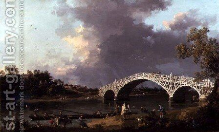 Old Walton Bridge over the Thames, 1754 by (Giovanni Antonio Canal) Canaletto - Reproduction Oil Painting