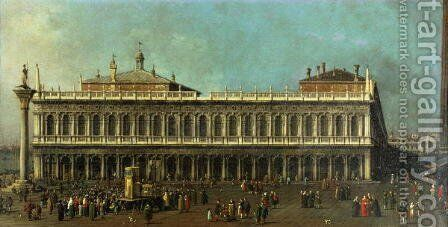 The Library and the Piazzetta, Venice by (Giovanni Antonio Canal) Canaletto - Reproduction Oil Painting