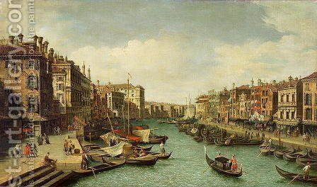 The Grand Canal near the Rialto Bridge, Venice, c.1730 (2) by (Giovanni Antonio Canal) Canaletto - Reproduction Oil Painting