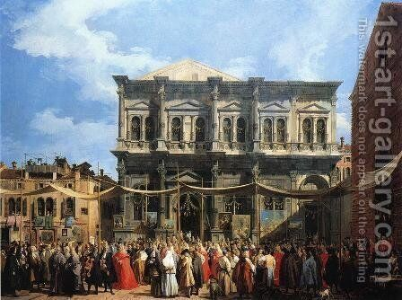 The Doge Visiting the Church and Scuola di San Rocco, c.1735 by (Giovanni Antonio Canal) Canaletto - Reproduction Oil Painting