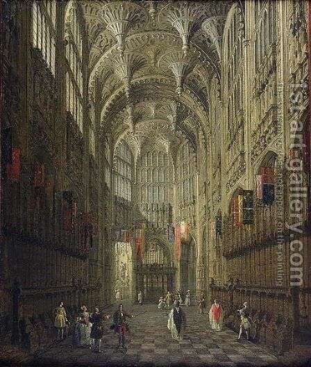 Interior of Henry VII's Chapel, Westminster Abbey, c.1750 by (Giovanni Antonio Canal) Canaletto - Reproduction Oil Painting