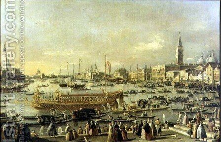 Venice- the Bacino di S. Marco on Ascension Day by (Giovanni Antonio Canal) Canaletto - Reproduction Oil Painting