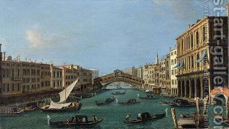 View of the Grand Canal from the South, the Palazzo Foscari to the right and the Rialto Bridge beyond by (Giovanni Antonio Canal) Canaletto - Reproduction Oil Painting