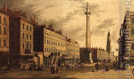 The Monument and Fish Street Hill, 1755 by (Giovanni Antonio Canal) Canaletto - Reproduction Oil Painting