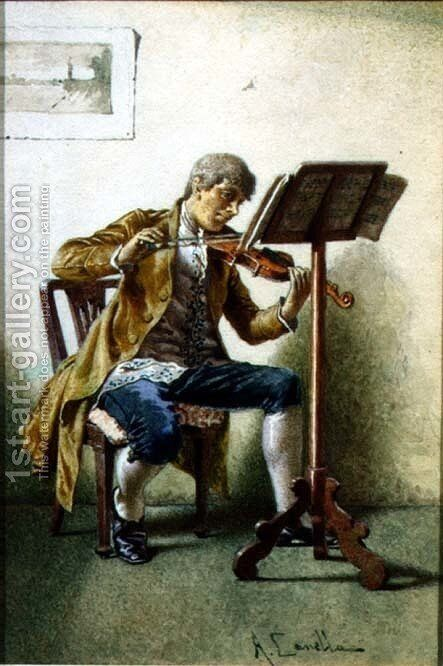 The Violinist by A. Canella - Reproduction Oil Painting