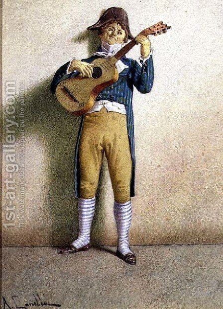 The Guitarist by A. Canella - Reproduction Oil Painting
