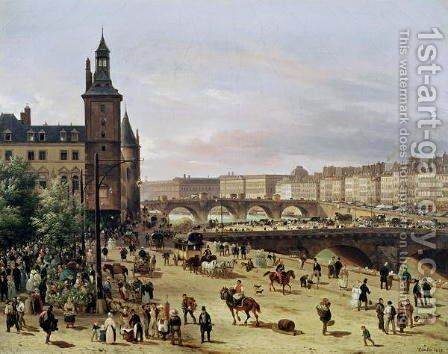 The Flower Market, 1832 by Guiseppe Canella - Reproduction Oil Painting