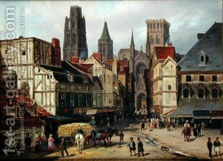 Place de la Haute-Vieille-Tour, Rouen, 1824 by Guiseppe Canella - Reproduction Oil Painting