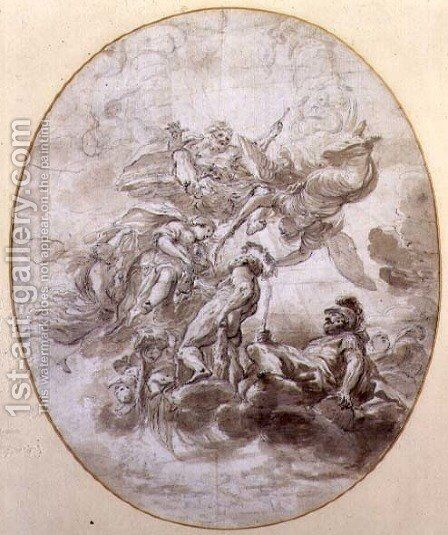 The Apotheosis of Hercules, design for a ceilng fresco for the Palazzo Pepoli in Bologna by Domenico Maria Canuti - Reproduction Oil Painting