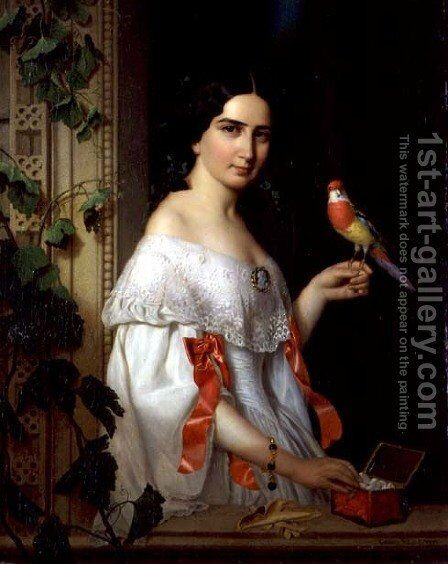 Portrait of a Lady with a Parakeet, 1856 by August (Agost Elek) Canzi - Reproduction Oil Painting