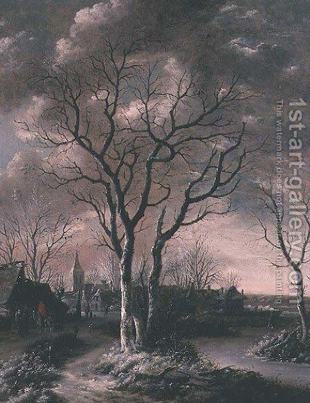 A Frozen River Landscape with Travellers on a path by Jan Van De Capelle - Reproduction Oil Painting