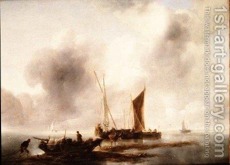 Fisherman unloading their catch in a calm by Jan Van De Capelle - Reproduction Oil Painting
