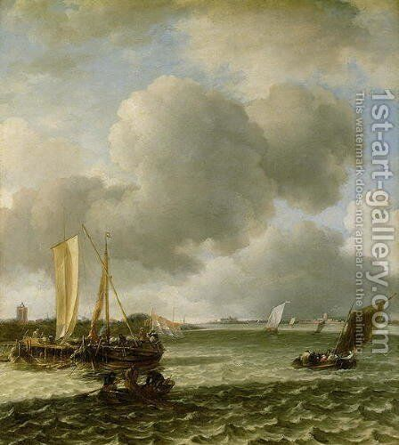 Boats on Ruffled Water by Jan Van De Capelle - Reproduction Oil Painting