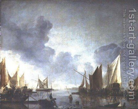 A calm, with a dignitary heralded in a state barge and fishermen in the foreground by Jan Van De Capelle - Reproduction Oil Painting