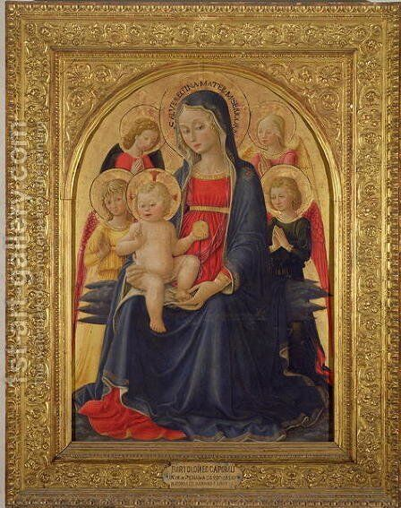 Madonna and Child with Angels, c.1467 by Bartolomeo Caporali - Reproduction Oil Painting