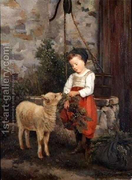 The Pet Lamb, 1877 by Camille-Leopold Cabaillot-Lasalle - Reproduction Oil Painting