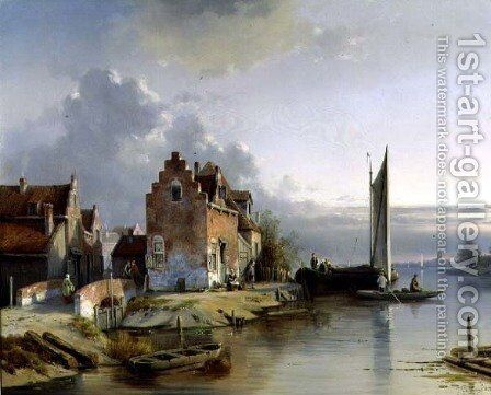 Belgian Riverside, 1858 by Jacques Carabain - Reproduction Oil Painting