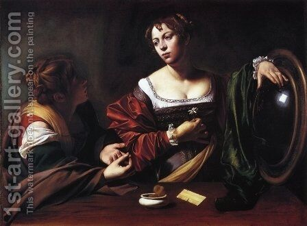 The Conversion of the Magdalen, 1597-98 by Caravaggio - Reproduction Oil Painting