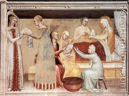 The Birth of the Virgin by Giovanni Da Milano - Reproduction Oil Painting