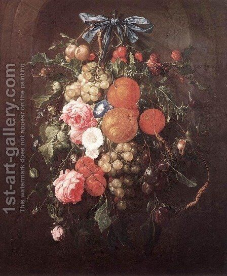 Still-Life with Flowers by Cornelis De Heem - Reproduction Oil Painting