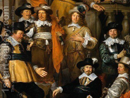 The Company of Cpt. Aelbert Bas and Lt. Lucas Conijn [detail #] by Govert Teunisz. Flinck - Reproduction Oil Painting