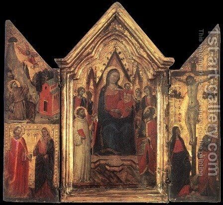 Madonna Enthroned with Angels and Saints by Jacopo del Casentino Landini - Reproduction Oil Painting