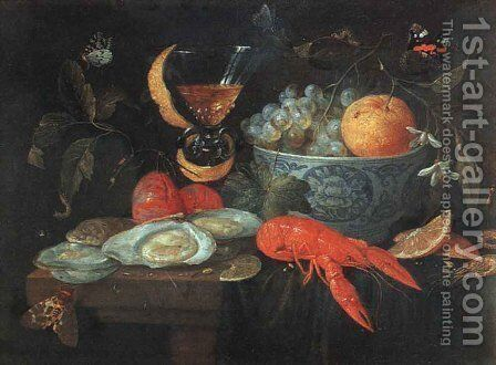 Still Life with Fruit and Shellfish by Jan van Kessel - Reproduction Oil Painting