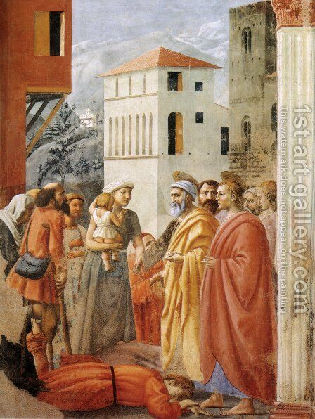 The Distribution of Alms and the Death of Ananias by Masaccio (Tommaso di Giovanni) - Reproduction Oil Painting